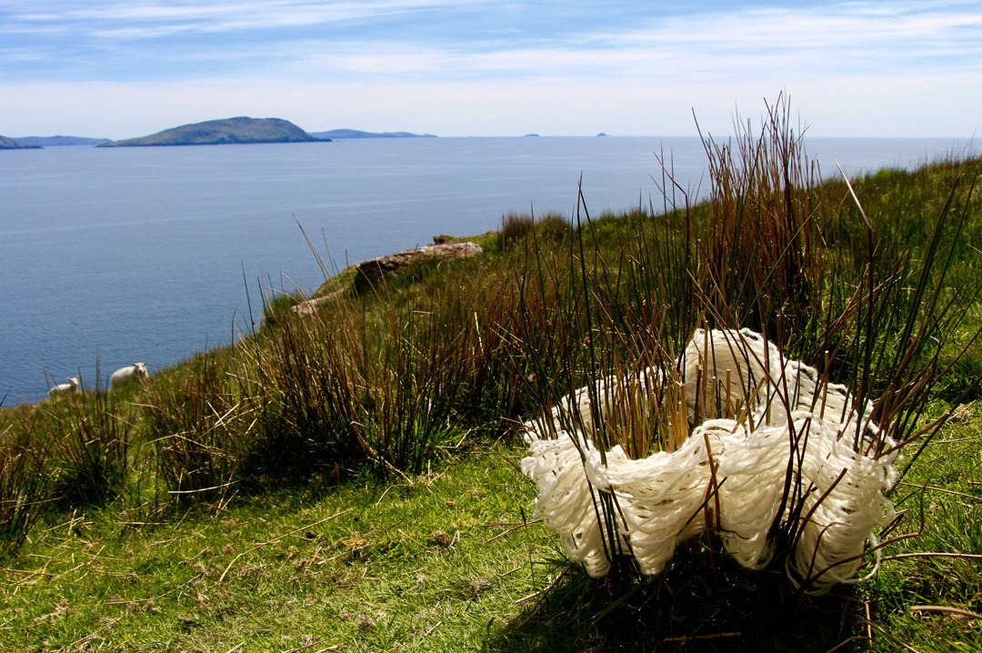 Earth Basket - This wool basket was created with natural wool yarn on living rushes in Ireland. Because wool is found on every fence post and bush, it naturally becomes a part of the color pallet of the landscape. It almost seems like a basket could make itself in the rushes with all the pieces.